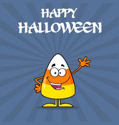 happy candy corn cartoon character waving vector image vector image