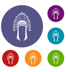 indian headdress icons set vector image