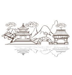 japanese landscape with temple pagoda and vector image vector image