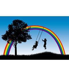 Rainbow swings vector image