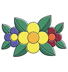 three flower leaves natural floral decoration vector image