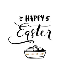 happy easter calligraphic greeting card vector image vector image