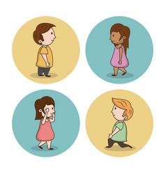 little kids cartoon icons vector image