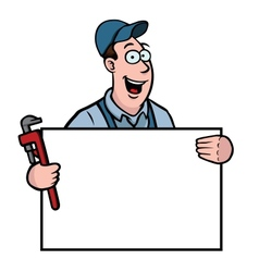 plumber with sign vector image