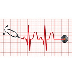 Stethoscope and heartbeats on graph paper vector image vector image