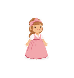 beautiful little girl posing in pink long dress vector image vector image