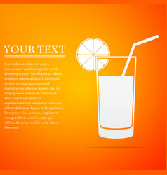 Glass of juice orange slice and tube for drinking vector