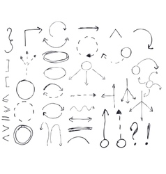 Isolated hand drawn arrows set on white vector image