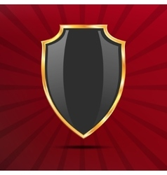 Metallic black golden shield on red background vector image