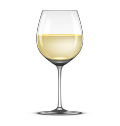 Realistic wineglass with white wine icon vector