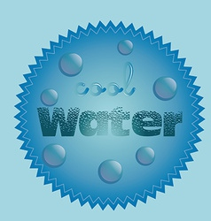 A blue label with some bubbles and text vector