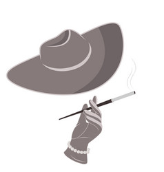 a lady in a hat and gloves smokes a cigarette vector image