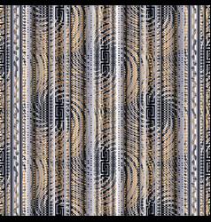 Abstract striped geometric 3d greek key seamless vector