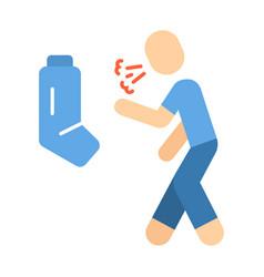 Allergic asthma flat design long shadow color icon vector
