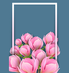 background for design with magnolia on dark vector image