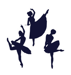 ballerina silhouette isolated on white background vector image