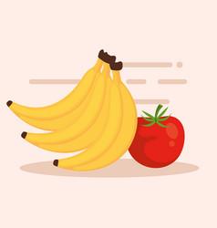 bananas and tomatoe icons vector image