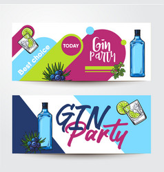 Banners with gin bottle shot lime juniper vector
