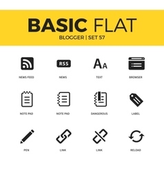 Basic set of blogger icons vector image