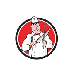 Butcher Sharpening Knife Circle Cartoon vector image