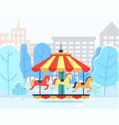 Carousel in winter park with cityscape view vector