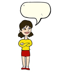 Cartoon smug woman with speech bubble vector
