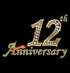 celebrating 12th anniversary golden sign with vector image