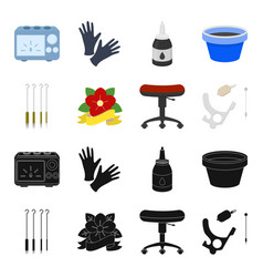 chair on rollers needles for tattoo and other vector image