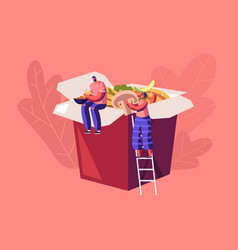 Chinese food concept tiny people sitting on huge vector