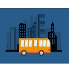City bus and buildings icon vector