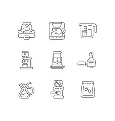 Coffee shop appliance linear icons set vector