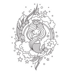 coloring book page for adults little beautiful vector image