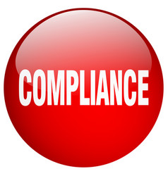 Compliance red round gel isolated push button vector