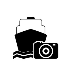 cruise ship and photographic camera icon vector image