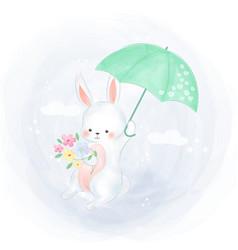 Cute bunny flying with umbrella vector
