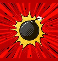 Detonation bomb cannonball burning wick boom vector