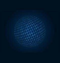 digital binary code sphere blue background vector image