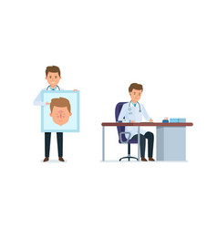 Doctor at desk explains on stand structure face vector