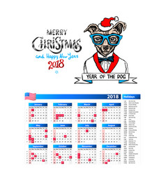 dog as santa portrait calendar 2018 design the vector image