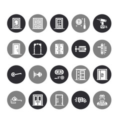 Doors installation repair flat glyph icons vector