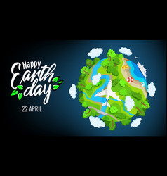 earth day 22 april planet globe with trees vector image