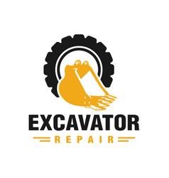 Excavator engine repair logo vector