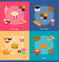 fast food banner card set isometric view vector image