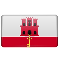 Flags Gibraltar in the form of a magnet on vector
