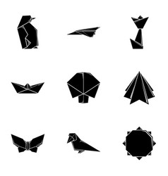 Flap paper icons set simple style vector