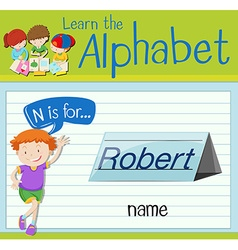 Flashcard letter N is for name vector image