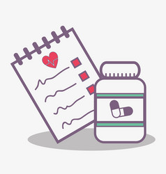 Flat line concept medical prescription and jar vector