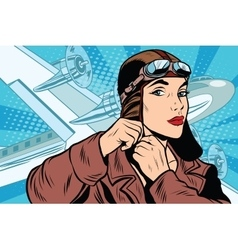 Girl pilot prepares for departure vector