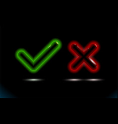 glossy realistic green backlit glass checkmark vector image