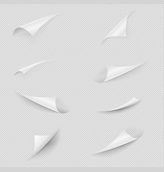 glossy white paper sheet folded edges set vector image